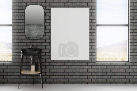 Modern bathroom interior with empty banner