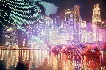 Photo pour Graphique financier sur le paysage urbain avec les bâtiments élevés fond multi exposition. Concept d'analyse. - image libre de droit