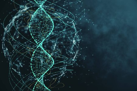 Photo for Abstract green DNA background. Innovation, medicine and technology concept. 3D Rendering - Royalty Free Image