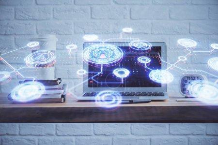 Photo pour Ordinateur sur le bureau avec icône de thème de réseau social. Exposition multiple. Concept de connexions internationales. - image libre de droit