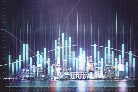 Photo for Financial graph on night city scape with tall buildings background multi exposure. Analysis concept. - Royalty Free Image