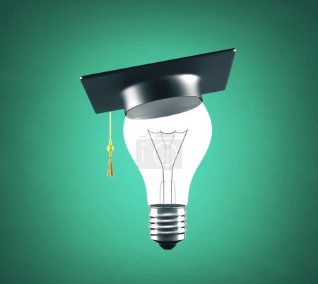 Photo for Lightbulb with graduation hat on green blackboard background. Success and education concept. 3D Rendering - Royalty Free Image