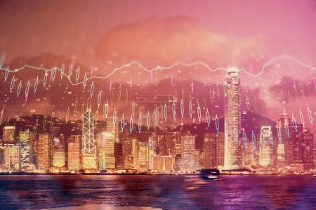 Photo for Multi exposure of forex chart drawings over cityscape background. Concept of success. - Royalty Free Image