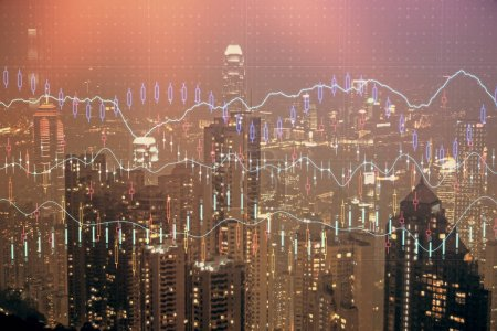 Photo for Double exposure of forex chart drawings over cityscape background. Concept of success. - Royalty Free Image
