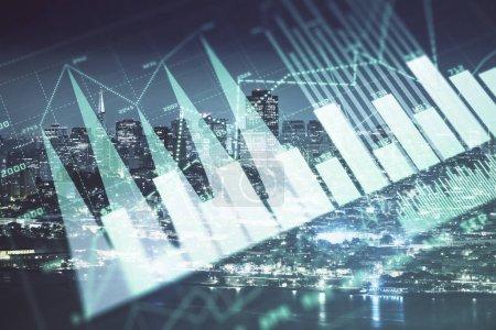 Photo pour Graphique financier sur le paysage de ville de nuit avec l'exposition double de fond de bâtiments grands. Concept d'analyse. - image libre de droit