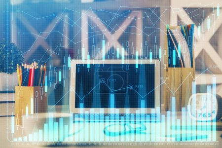 Photo for Double exposure of forex graph and work space with computer. Concept of international online trading. - Royalty Free Image