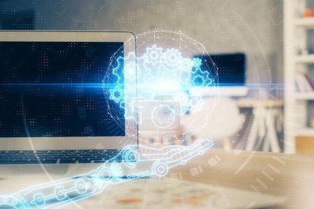 Photo pour Dessin de thème de technologie et table avec l'ordinateur. Multi exposition. Concept d'information. - image libre de droit