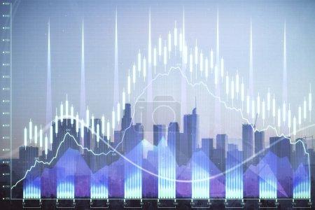 Photo pour Graphique forex sur le paysage urbain avec des gratte-ciel papier peint double exposition. Concept de recherche financière. - image libre de droit