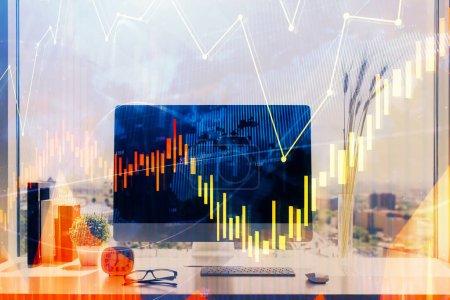 Photo pour Graphique du marché boursier et tableau avec fond d'ordinateur. Exposition multiple. Concept d'analyse financière. - image libre de droit