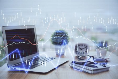 Photo for Forex market chart hologram and personal computer background. Double exposure. Concept of investment. - Royalty Free Image