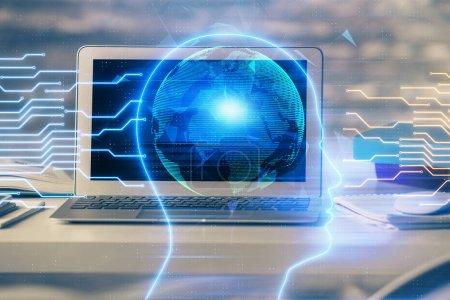 Photo pour Multi exposition de la table de travail avec ordinateur et cerveau hologramme. Remue-méninges. - image libre de droit