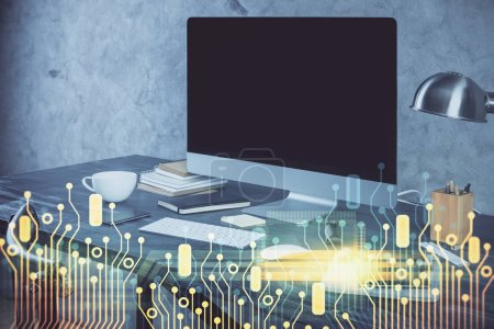 Photo pour Dessin de thème de technologie et table avec l'ordinateur. surimpression. Concept d'information. - image libre de droit