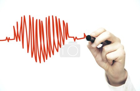 Photo for Hand drawing black heart symbol and chart heartbeat. Healthcare and medical concept - Royalty Free Image
