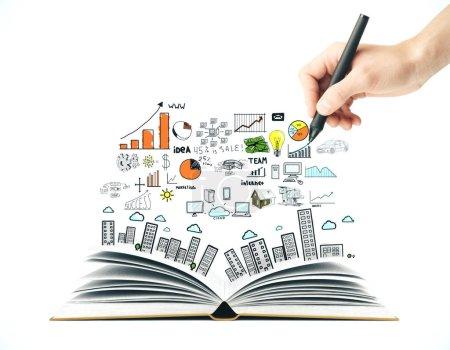 Photo pour Homme d'affaires dessin à la main croquis d'entreprise. Concept d'entreprise et d'éducation . - image libre de droit