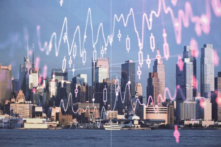 Photo pour Graphique Forex sur la vue sur la ville avec gratte-ciel arrière-plan double exposition. Concept d'analyse financière. - image libre de droit