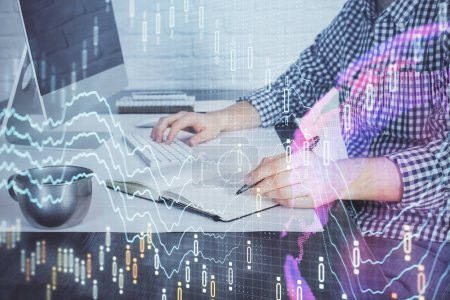 Photo for Double exposure of stock market chart with man working on computer on background. Concept of financial analysis. - Royalty Free Image