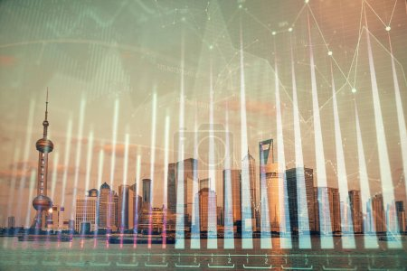 Photo for Forex graph on city view with skyscrapers background double exposure. Financial analysis concept. - Royalty Free Image