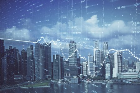 Photo for Forex chart on cityscape with skyscrapers wallpaper multi exposure. Financial research concept. - Royalty Free Image