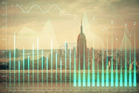 Photo for Forex graph on city view with skyscrapers background multi exposure. Financial analysis concept. - Royalty Free Image