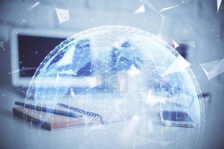 Photo pour Multi-exposition des icônes du thème d'entreprise et de l'espace de travail avec fond d'ordinateur. Concept de succès. - image libre de droit
