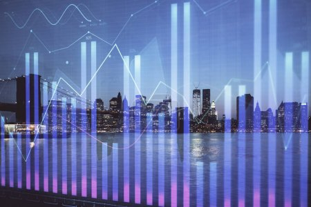 Photo for Financial graph on night city scape with tall buildings background double exposure. Analysis concept. - Royalty Free Image