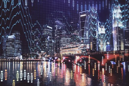 Photo for Financial chart on city scape with tall buildings background multi exposure. Analysis concept. - Royalty Free Image