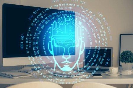 Photo pour Double exposition de la table avec ordinateur et hologramme cérébral. Concept d'innovation des données. - image libre de droit