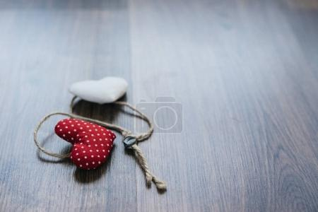 Photo for Two hand made hearts fall in love as background for Valentine day - Royalty Free Image