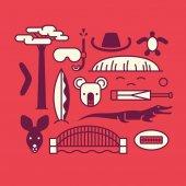 Australia vector outline illustration pattern red background
