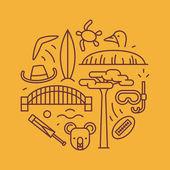 Australia vector outline illustration pattern yellow background