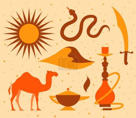 Illustration pour Icône du désert arabe, vecteur plat illustration avec palmier, chameau, temple, narguilé, serpent, dune, soleil - image libre de droit