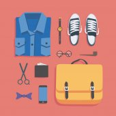 Fashion vector illustration icon set: shirt watches shoes glasses wallet scissors phone pipe bag bow