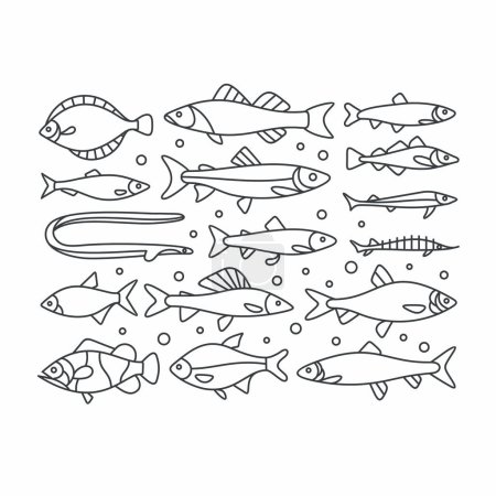 set of hand-drawn Fishes