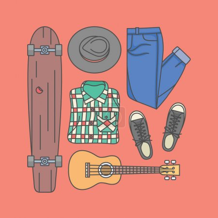 hipster longboard, clothes and guitar