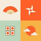 icons set of traditional japan symbols