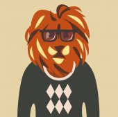 hipster lion in sweater and glasses