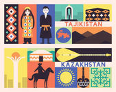 tajikistan and kazakhstan travel banners