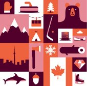 Canada vector flat illustration icon set background Mittens landscape ax mountain camping fish winter wood forest bear tree hockey diamond flag skates food boat