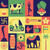 India vector flat illustration icon set pattern background: Hindu yoga snake cobra car sitar lotus flower drum om map elephant indian tea cow palm tree flag pepper