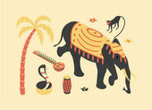 India vector flat isometric illustration 3d icon set: palm tree sitar monkey elephant lotus flower snake cobra drum beach