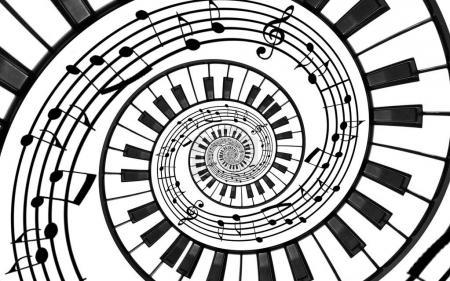 Klaviertastatur gedruckt Musik abstrakten fraktalen Spiralmuster Hintergrund. schwarze und weiße Klaviertasten spiralförmig. Wendeltreppe. Klavier spiralförmigen Muster abstrakten Hintergrund. abstrakte isolierte Klaviertöne