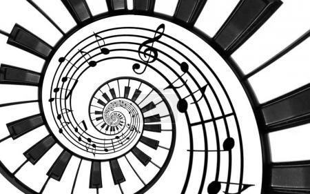 Klaviertastatur gedruckt Musik abstrakten fraktalen Spiralmuster Hintergrund. schwarze und weiße Klaviertasten spiralförmig. Wendeltreppe. Klavier spiralförmigen Muster abstrakten Hintergrund. abstrakte isolierte Klavierspirale