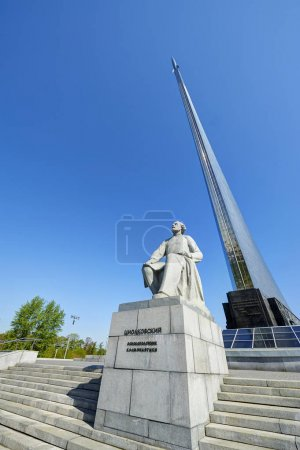 MOSCOW, MAY 18, 2017: Monument of Russian cosmonautic founding father Tsiolkovsky Konstantin and space rocket on Moscow cosmonaut space museum roof. Famous space museums, sighseeing for tourists