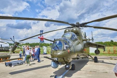 ZHUKOVSKY, RUSSIA, JUL. 21, 2017: Aerospace aircraft exhibition MAKS 2017. New battle helicopter Mi-24. Russian army military helicopters. Russian military airforce. Famous Russian helicopters