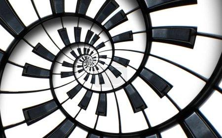 Klaviertastatur gedruckt Musik abstrakten fraktalen Spiralmuster Hintergrund. schwarze und weiße Klavierspirale. Wendeltreppe. Klavier spiralförmige Muster abstrakter Hintergrund abstrakte Klavierspirale Effekt