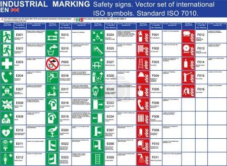 Illustration pour Ensemble de panneaux de sécurité vectoriels bâtiments et autres applications. Réglez les symboles de sécurité vectoriels normalisés ISO 7010. Symboles de sécurité vectoriels signes marques. Sortie de secours, porte d'extincteur échelle de premiers secours - image libre de droit