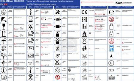 Industrial package marking Vector set 50 package handling icons symbols Package symbols icons application rules with illustrations examples. Packaging icons symbols set Cargo marking. Package vector symbols set ISO 7000. Symbols marks sign CE EAC Ex