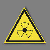 Radioactive sign symbol in circle Stylized with transparent drop-shadow