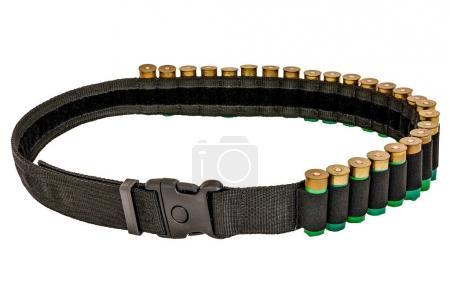 Photo pour Chasseur fusil munitions munitions ceinture et bandoulière, cartouches à l'intérieur. Isolé - image libre de droit