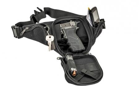 Photo for City tactical bag for concealed carrying weapons with a gun inside - Royalty Free Image